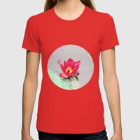 art style pretty pink waterlily flower  Womens Fitted Tee Red SMALL