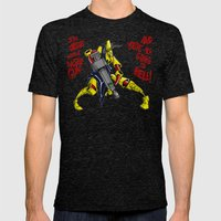 Scud The Disposable Assassin: Jesus with a Laser Gun! Mens Fitted Tee Tri-Black SMALL