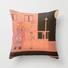 Waiting for the Bus Throw Pillow