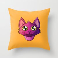 Super Kawaii Neko Muffin Throw Pillow