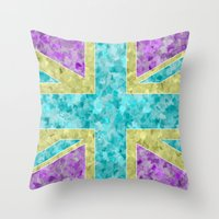 Floral Union Jack Throw Pillow
