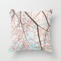 Vintage pink tree Throw Pillow
