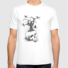 Skull and Tree Mens Fitted Tee SMALL White