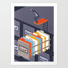 Diving into papers Art Print