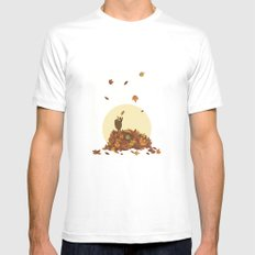 Autumn Hedgehogs White SMALL Mens Fitted Tee
