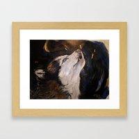 Howling Husky Framed Art Print