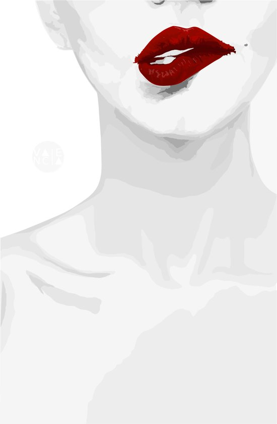 Smirk Red Lips Art Print