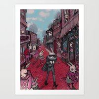 Bunnies of Valentine Day Town.  Art Print