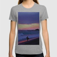 Sunset Skimboarder Womens Fitted Tee Athletic Grey SMALL