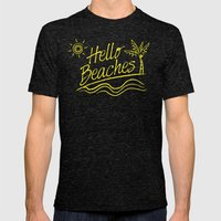 Hello Beaches Mens Fitted Tee Tri-Black SMALL