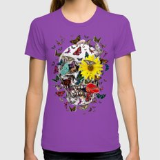 Skull Flowers Animals on Black | Butterflies Womens Fitted Tee Ultraviolet SMALL