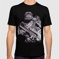 Master Chief Pen Drawing Mens Fitted Tee Black SMALL