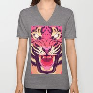 Unisex V-Neck featuring Cool Angry Tiger by Oh Wow!