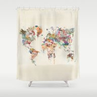 World Map Watercolor Shower Curtain