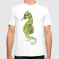 Sea Horse Green Yellow Sea Life Ocean Underwater Creature Mens Fitted Tee White SMALL