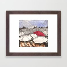 Standing Out in the Rain Framed Art Print