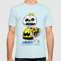 Happiness Is A Tiger Mens Fitted Tee Light Blue SMALL