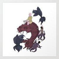 Pisces Circle Art Print