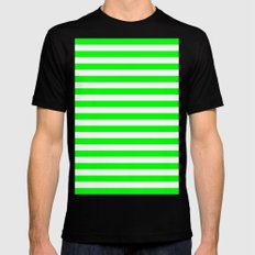 Horizontal Stripes (Green/White) Mens Fitted Tee Black SMALL