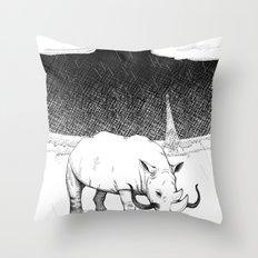 Rhino during Midnight in Paris Throw Pillow