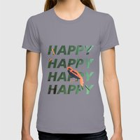 Happy Happy Happy Womens Fitted Tee Slate SMALL