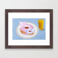 Kitty Donuts Framed Art Print