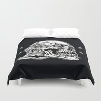 Skullflower Black And Wh… Duvet Cover
