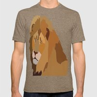 African Lion Mens Fitted Tee Tri-Coffee SMALL