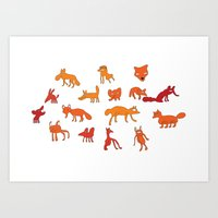 Weird Foxes Art Print