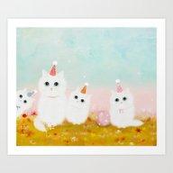 Art Print featuring Birthday Kittens by Danse De Lune