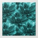 Turquoise Floral Abstract Canvas Print