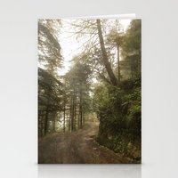 A foggy road in the forest, Dharamsala, India Stationery Cards