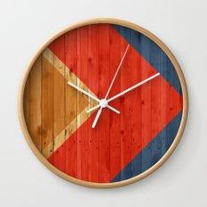 Woodgrain Colorblock Wall Clock