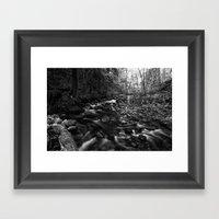 Oregon Stream In Black &… Framed Art Print