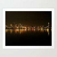 Seattle Skyline Night Art Print