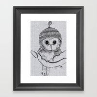 Bobble Hat Owl Framed Art Print