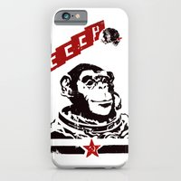 iPhone & iPod Case featuring Soviet Space Monkey by Chris Kawagiwa