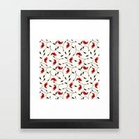 Strange Red Flowers Patt… Framed Art Print