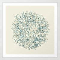 Denim flower circle Art Print