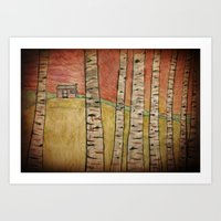 Birch Woods Cabin Art Print