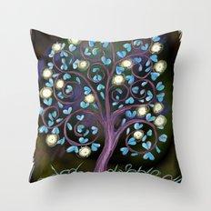 Black Mystic Tree Throw Pillow