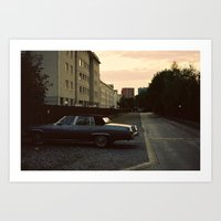 car Art Prints featuring car by Martyna Syrek