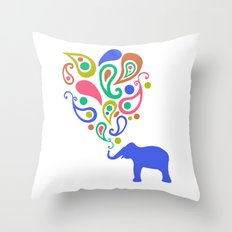 Multi-Colored Paisley Elephant Pattern Design Throw Pillow
