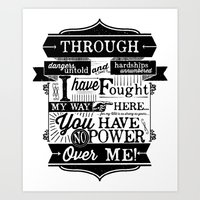 Labyrinth Quote You Have No Power Over Me Art Print