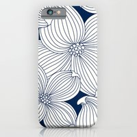 iPhone & iPod Case featuring Dogwood Big Linear Floral: Navy Ivory by Eileen Paulino