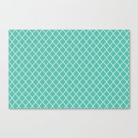 Quatrefoil - Teal Canvas Print