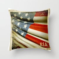 Grunge Sticker Of United… Throw Pillow