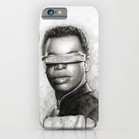 iPhone & iPod Case featuring Geordi La Forge Star Trek Art by Olechka
