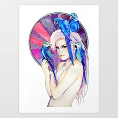 Girl with Parrots Art Print