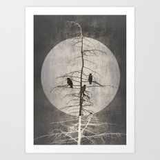 Full Moon And Crows Art Print